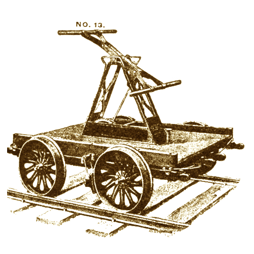 A line-drawing of a railroad hand-pump-car in action.