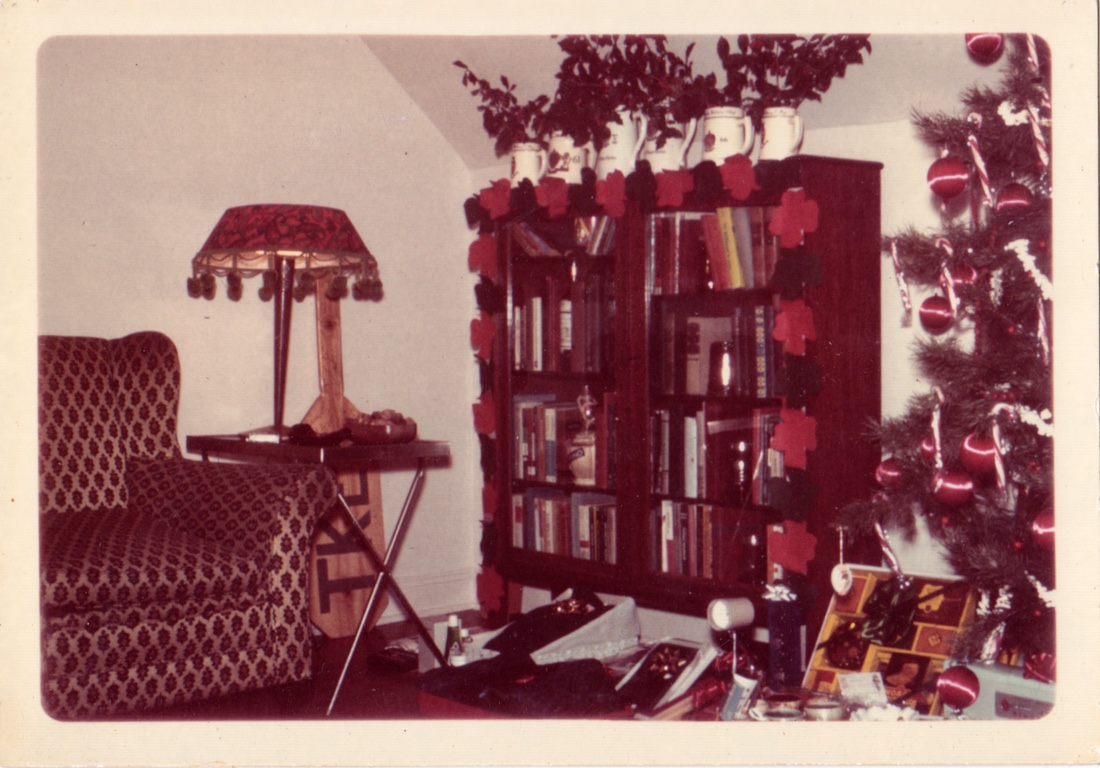 The Christmas decorations in my first apartment, 1966.